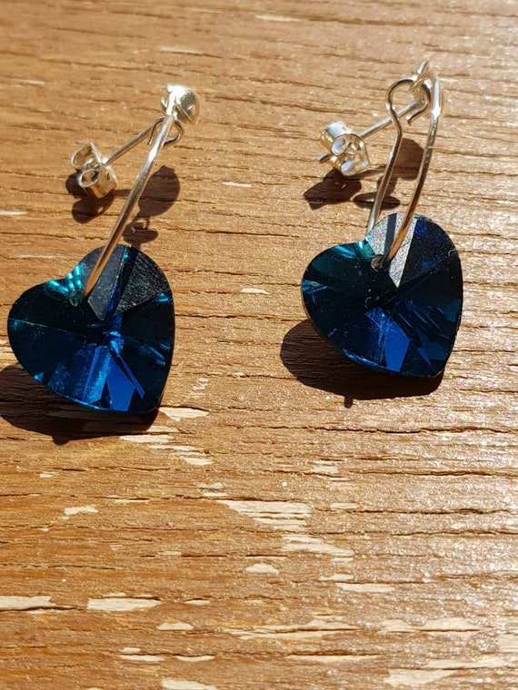 Blue heart drop stud earrings