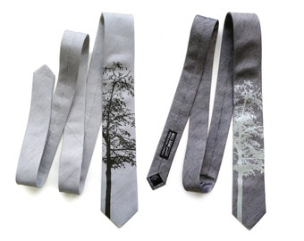 Aspen linen necktie. Silver and black silk linen blend men's tie. Bias cut, rustic screenprinted tie. Other colors available too!