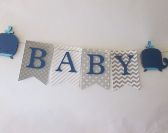 Gray and blue its a boy banner, baby shower decorations, Welcome baby banner