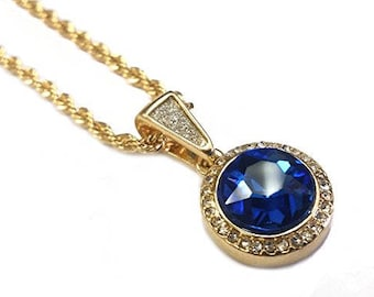 Sapphire Mini Pendant Necklace in 18k Gold Finish
