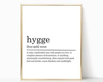 Hygge Definition Print, Modern Home decor, Hygge poster, Printable Poster, Bedroom Print, Bedroom Decor, Typography Art, DIGITAL DOWNLOAD