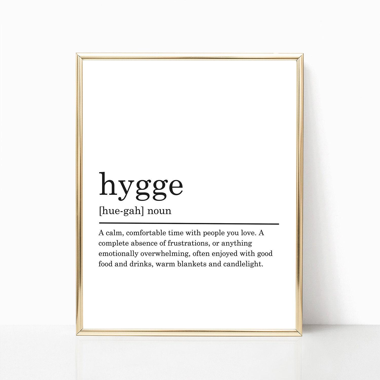 Hygge Definition Print Modern Home Decor Hygge Poster