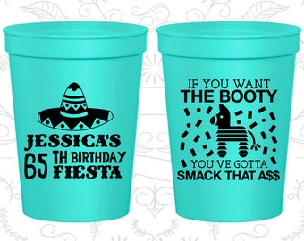 65th Birthday Cups, Custom Party Favor Cups, Fiesta Birthday Cups, Birthday Cups (C20287)