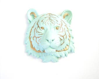 Customize ANY 2 colors small faux taxidermy tiger head wall mount wall hanging // nursery decor // office decor // chic //hand painted