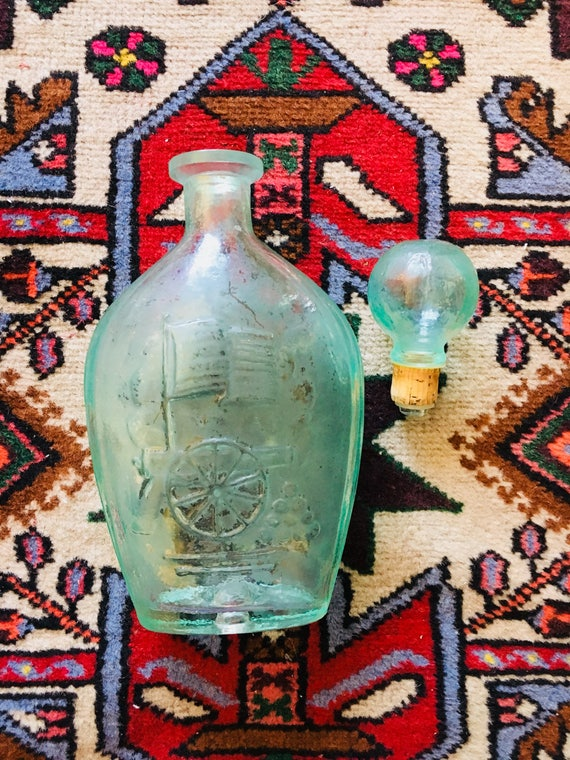 Vintage 1958 Mint Green Liberty Bottle - 2 Available - Mid-Century Collectible Glassware - Mint Green Home Decor
