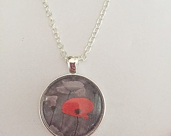 Poppy Necklace, Remembrance Necklace, Flower Pendant, Remembrance Jewelry, Flower Jewelry, Poppy Gift, Gift For Women