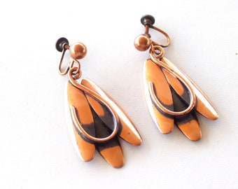Rame Earrings, Rare Vintage RAME' Copper Modernist Abstract Elliptical Screwback Dangle Earrings, MCM Copper Earrings, The Copper Cat