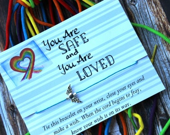 You Are Safe And Loved Wish Bracelet, Wish Bracelet, Foster Care Gifts, Foster Care, Foster Child Gifts, Foster Child Welcome Gift, Rainbow