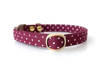 Burgundy Polka Dot Cat Collar