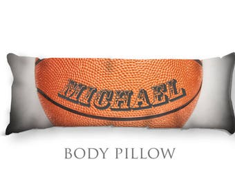 Personalized Basketball Body Pillow-Basketball Bed Pillow-Basketball Body Pillow Cover-Sports Pillow Cover-Basketball Pillow Cover
