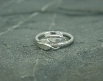 Handmade two leaf ring in sterling silver