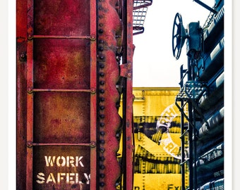 Work Safely - Train Photography - Railroad Photo - Train Art Print - Red Yellow Blue - Kids Train Art - Abstract Primary Color Train Picture