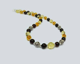 Multi color Amber Necklace with handmade Silver beads