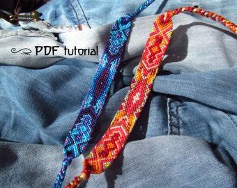 Friendship Bracelet Pattern, Friendship Bracelet Tutorial 'Sand and Sun', Bracelet Tutorial, Friendship Bracelet PDF, Bracelet PDF File