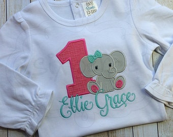 Birthday Elephant | Shirt or Bodysuit | Custom Appliquéd & Embroidered | Elephant Party Shirt | Zoo Birthday | Jungle Party | By Sixpence