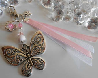 Bag charm / key Butterfly pink and white
