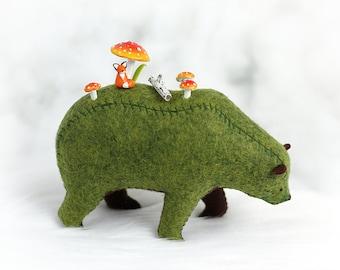 The Fox and the Bear / Grizzly Bear Soft Sculpture / Artist Bear / Woodland Decor / Nature Lover Gift / Felt Animal Bear / Forest Spirit