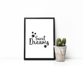 Sweet dreams, digital print, printable art, nursery, baby shower, gift