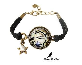 Bracelet (dream) dark bronze OWL clock cat glass cabochon)