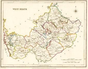 County West Meath Ireland - 1837 - Antique Irish Map - FREE WORLDWIDE SHIPPING