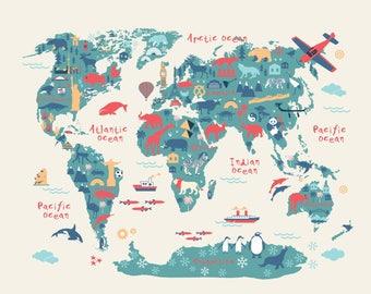 World Map Kids room art, Nursery art, Nursery print, Kids room print, Animal art, Gender Neutral Nursery canvas wall art, Map of the World