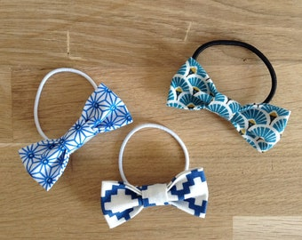 Trio of hair bows, blue and white elastic