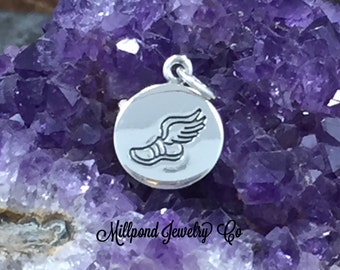 Runner Charm, Jogger Charm, Running Shoe with Wing Charm, Marathon Charm, Marathon Runner Charm, Exercise Charm, Small, PS01627