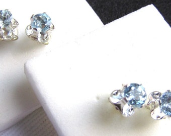 4mm Faceted Round Aquamarine Sterling Silver Buttercup Stud Earrings