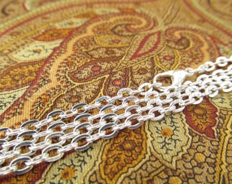 "10 Pack - 24"" Shiny Silver Rolo Chain Necklaces - 24 Inch Antique Style Chain With Lobster Clasp - 3 x 4mm Oval Links"