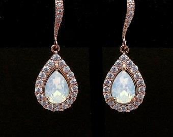 bridesmaid bridal party gift prom jewelry wedding cubic zirconia deco swarovski teardrop white opal rhinestone rose gold hook earrings