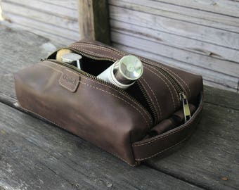 Men's shaving bag - Coffee Leather Dopp Kit - Waxed Leather Toiletry Bag - Groomsman Gift - Personalized Toiletry Bag - Free Personalization