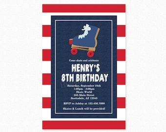 Roller Skating Birthday Invitation, Roller Skating Birthday Party, Skating Party, Red, Blue, Printable or Printed Invitation