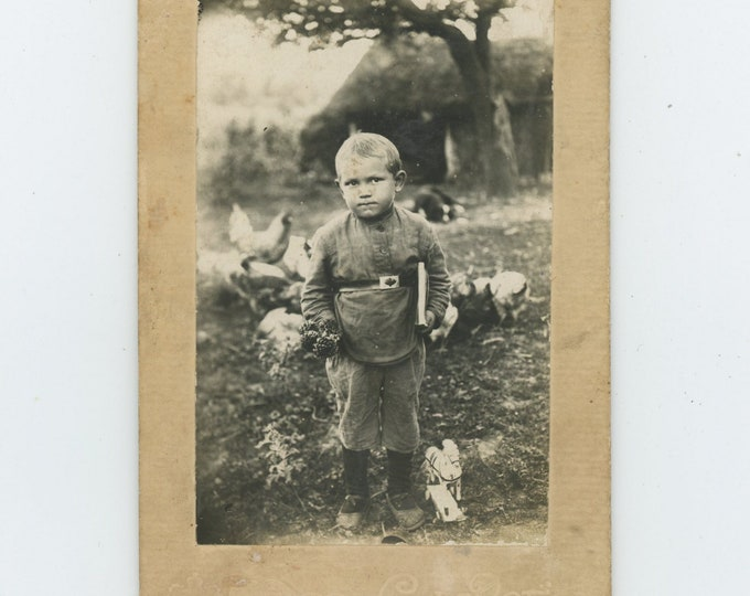 Vintage Cabinet Card Photo: Small Boy with Book & Handful of Pine Cones, Soviet Union, 1926 [86697]