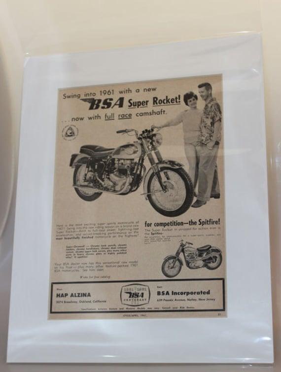 1961 BSA Super Rocket 11'' x 14'' Matted Vintage Motorcycle Ad Art #e61da07m
