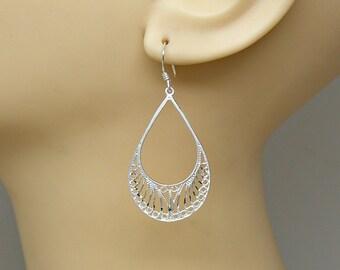 Earrings Filigree Large Teardrop Dangle Sterling Silver Diamond Cut Boho Ear Wires no. 3610