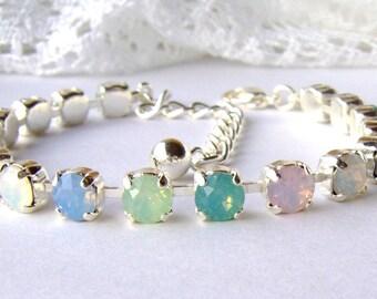 Easter bracelet / Pastel opal rhinestone bracelet / October birthstone / Swarovski / birthday gift / gift for her / Bridal / Tennis bracelet