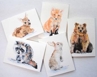 Woodland Animal Watercolor Card Set Greeting Cards 5x7