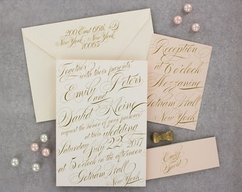 Wedding Invitations, Calligraphy Wedding Invitation, Blush and Gold, Roses, Modern, Urban Chic Wedding Invitation - Emily Sample