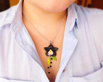 Black flower jewelry Gift for her Anniversary gift For mom Orchid jewelry Floral necklace Wife gift Black pendant Fashion jewelry women
