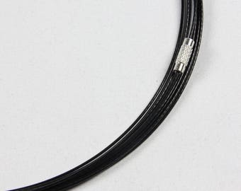Set of 10 turns neck cable coated steel - black