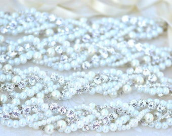 Pearl and Rhinestone Bridesmaid Necklace and Earrings Set With Ribbon Color Your Choice, All White