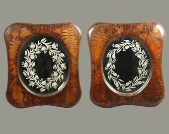 Antique Folk Art Mirror Pair American Primitive Circa 1860