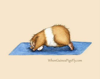 Guinea Pig Yoga Downward Facing Dog - Yoguineas Collection - Cute Guinea Pig Art Print