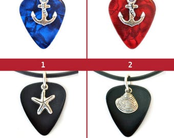 Nautical Symbol Charm Guitar Pick Necklace--Various Color & Design