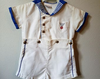 Vintage Boys Sailor Suit in White with Blue trim with Brass Anchor Buttons and Eagle by Snookies by Kiddie Pal- size 2t- Gently worn