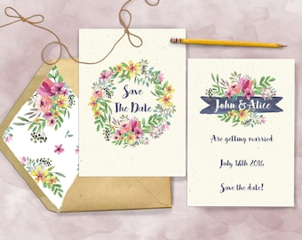 Spring Florals Save the Day Wedding Initations