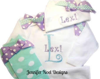 Personalized Take Home outfit for girls, baby name hat, newborn girls gift set in lavender and aqua