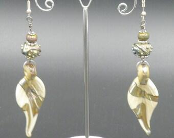 Handmade Lampwork Leaves - Moretti Ivory Glass & Metallic Gold Silvery Double Helix Glass