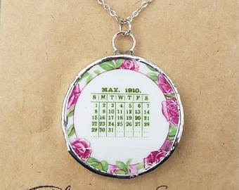 May 1910, Broken China necklace, broken china jewelry, Mothers Day gift