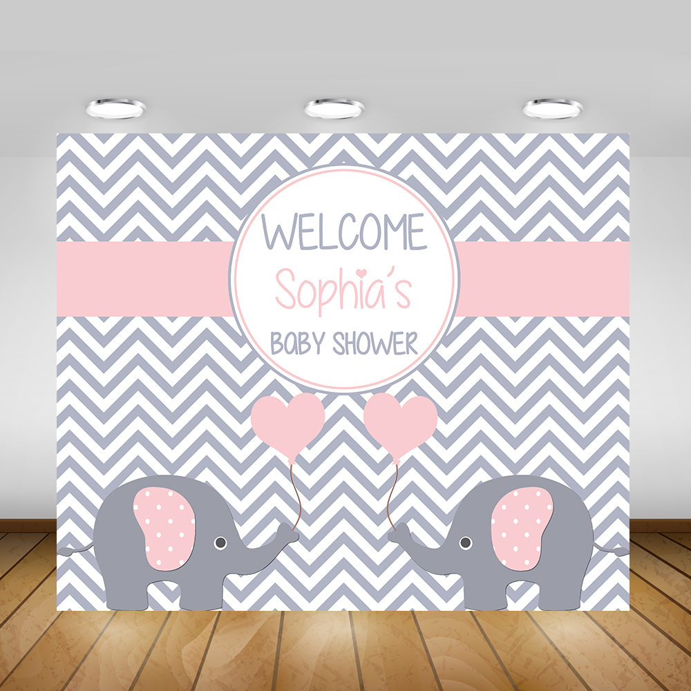 Elephant Baby Shower Backdrop, Chevron, Grey, Yellow, Baby Boy, Baby Girl,  Backdrop, Poster, Sign, Banner, Printable Baby Shower Backdrop